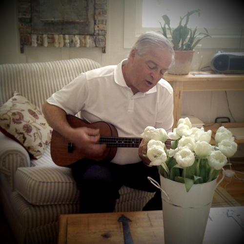 Newell Baker playing the uke.